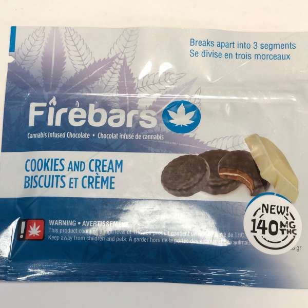 Fire Bars- Cookies and Cream (140 MG THC) edibles Serene Farms Online Dispensary