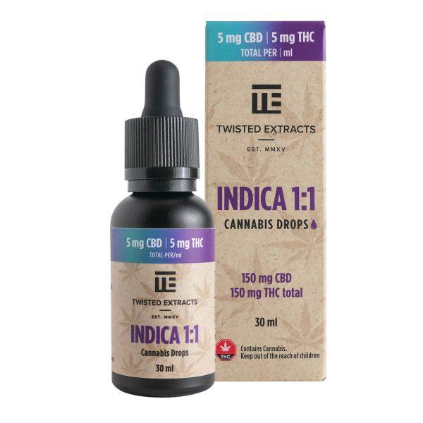 Indica 1:1 Cannabis Oil Drops (150mg THC + 150mg CBD) Serene Farms Online Dispensary