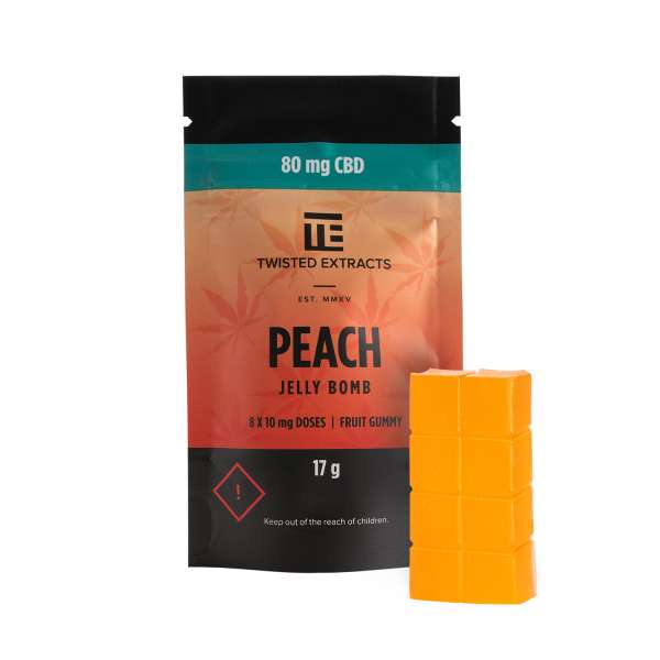 Peach CBD Jelly Bomb (80mg CBD) Serene Farms Online Dispensary